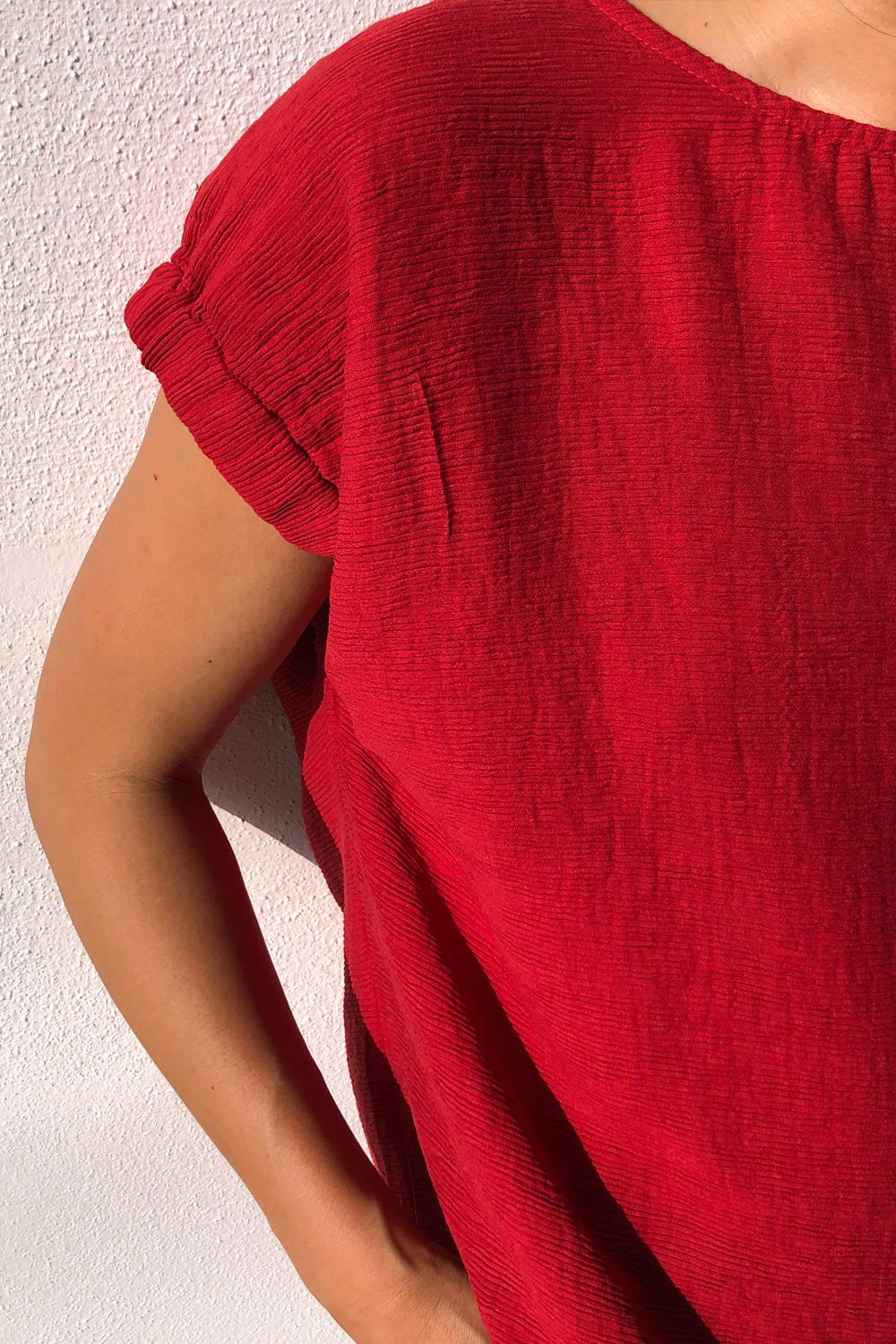 LA제작 / IM elastic blouse PL(mars red)_당일배송
